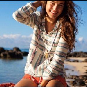 Roxy Beach Baja Striped Hoodie Poncho Size S